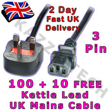 100 x Kettle 3-Pin Power Cord Mains Cable Lead UK Plug!!! 1.8m 5A FUSED IEC