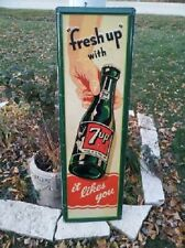 VERY RARE , 7up  7 UP Seven UP SIGN 1948 54 x 17 Hand to Bottle It Likes You!