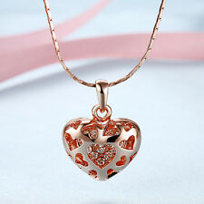 18k rose gold plated necklace Crystal heart Pendant classic Fashion Jewelry