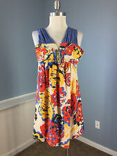 Prairie 100% Silk S New York Dress Cocktail Party Anthropologie Embellished Blue