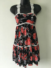 New York Laundry Black Red and White Stretchy Lace Trim Tiered Dress Size 10