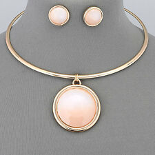 Gold Choker Style Pink Stone Circle Pendant Necklace With Earrings