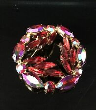 LARGE VINTAGE WEISS SIGNED RED VALANTINE RUBY RED RHINESTONE BROOCH PIN