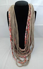Necklace scarf tee shirt casual beige colored braids funky hip polyester