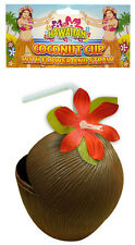 Fancy Dress Hawaiian Hula Plástico Vaso De Coco Con Flor y de paja (X14 126)