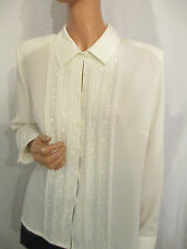 VINTAGE 90s O/S CREAM EMBROIDERED FLORAL SHIRT BLOUSE 14 LONG SLEEVE PEAK COLLAR