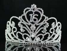 SWEET SIXTEEN 16 BIRTHDAY PARTY RHINESTONE TIARA CROWN W/ HAIR COMBS T1863 CLEAR