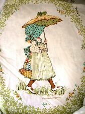 Vintage Holly Hobbie Hobby Twin Bed Sheet 2 pc Flat + Fitted Muslin Springmaid
