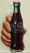 COCA COLA heavy embossed metal sign 100 anniversary bottle in hand coke 2180161