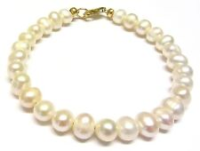 9ct Yellow Gold White Freshwater Pearl 7.5 inch Bracelet