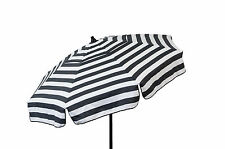 Black and White Striped Italian Patio Umbrella 6' Backyard Shade Deck Canopy
