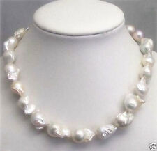 AAA+ Rare Huge 15-25MM WHITE SOUTH SEA BAROQUE PEARL NECKLACE 18""