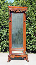 Victorian Walnut Bonnet Top Pier Mirror with Acanthus Carvings & Paw Feet