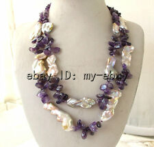 Double Lavender Pink Brown Rainbow Keshi Keishi Pearl&Amethyst Necklace