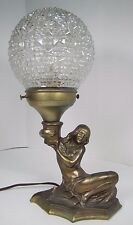 1930s Art Deco Nude Beauty Figural Lady Lamp long flowing hair holding light