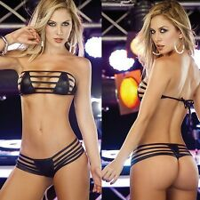 Black temptations patent leather bikini beach suit women sexy fun pajamas Y116Z