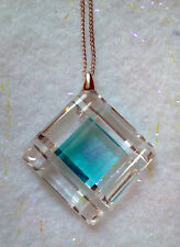 PRECIOSA BRAND Aqua and Clear Crystal Necklace- 925 Sterling -Made in Czech