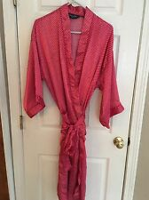 Vintage Mens CHRISTIAN DIOR MONSIEUR Red Polka Dot Satin Lounge Robe O/S