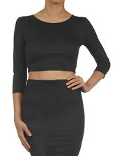 New Women Black Nude Faux Leather Suede Trendy Cropped 3/4 Sleeve Top Shirt USA