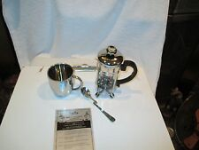 Leed's Coffee Tea Press Gift Box Set Stainless Mug Spoon Detroit Science Center