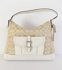 NWT Coach 32081 Charlie C Sign. Python Hobo Bag ~ Light Khaki/Parchment
