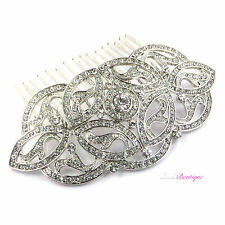 Bridal Wedding Vintage Celtic Style Silver Crystal Diamante Hair Slide Comb HC06