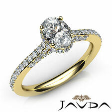 Oval Cut Pre-Set Diamond Engagement Ring GIA D Color VVS1 18k Yellow Gold 1.15Ct