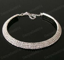 3 ROW CRYSTAL rhinestone  CHOKER NECKLACE silver plated SPARKLY DIAMANTE bridal