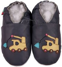 shoeszoo soft sole leather baby shoes crane dark grey 6-12m S