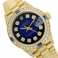 Rolex Datejust 6917 18K Gold Blue Vignette Diamond/Sapphire Watch President Band