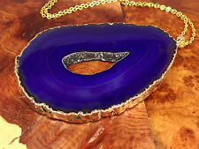 Agate Slice Necklace - Purple Druzy Crystal Center Pendant XL Gold Plated (R41E)