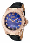 New Mens Invicta 1715 Pro Diver Blue Dial Rose Gold Case Black Leather Watch