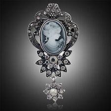XL Brosche Kamee Vintage Gemme Kristall 70mm X 35mm Grau Antik Blumen Paris
