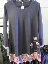 Purple applique soft long sleeve winter pretty dress/ top Gypsy Boho Nepal S/M