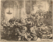 Rembrandt Etching Reproduction: Christ Driving the Money Changers:Fine Art Print
