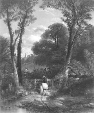 FAMILY Walks in FOREST on WAY TO CHURCH ~ Old 1849 Landscape Art Print Engraving