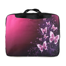 "TaylorHe 15.6"" DEFECT Laptop Shoulder Bag With Handles Strap Pink Butterflies"