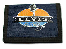 ELVIS PRESLEY - MICROPHONE NAVY BLUE CANVAS TRI-FOLD WALLET NEW OFFICIAL