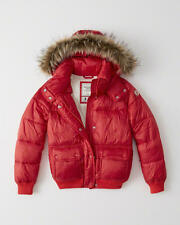 A&F Abercrombie & Fitch Women's Hooded Puffer Removable Fur Jacket Sz M Red