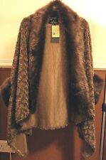 R&J Fashion ladies Brown Faux Fur Cape with sleeves one size Regular new wtags