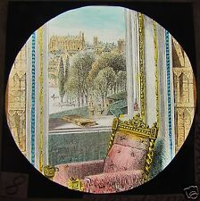 Glass Magic Lantern Slide WINDSOR CASTLE - THE LIBRARY C1880 ROYALTY ENGLAND