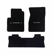Chevy Silverado Crew Cab 3 Pc Black Carpet Floor Mat Set - Lic. Logo - 2014-2016