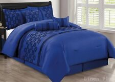 7 Piece Blue Black Flocked  Comforter Set Queen Size New