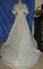 Vintage 70's or 80's IGWU Wedding Gown Dress Long Sleeves Beaded Lace Train 10