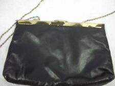 Vintage Navy Blue Metal Frame Clutch with Chain Strap Leather