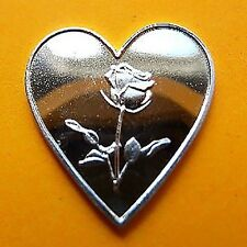 999 Silver Silver Bullion Heart with Rose Nice Gift & Investment Rare New