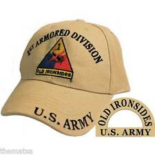 ARMY 1ST ARMORED DIVISION OLD IRONSIDES USA EMBROIDERED TAN MILITARY  HAT CAP