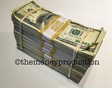 PROP MONEY USED LOOK $100 $50,000 BLANK FILER PAPER 5 Stack for Movie,TV,Videos