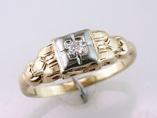 Vintage Antique Deco Diamond 14K Yellow Gold Engagement Wedding Cocktail  Ring