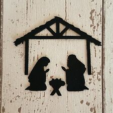 12 felt Nativity Christmas silhouettes die cut for craft and embellishment black